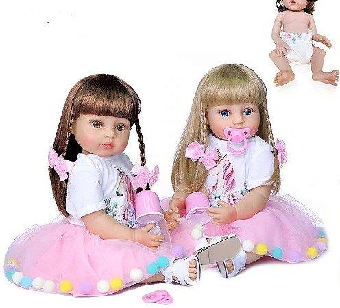 Bebê reborn menina, 100% silicone, vestido unicorn,cabelo comprido,  55cm, loira ou morena