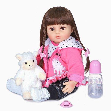 Bebê reborn menina, cabelo comprido,ovelhinha, 100% silicone , 55cm, pele Branca ou morena