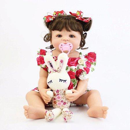 Pronta Entrega - Bebê reborn menina 100% silicone Alice colheo 55cm