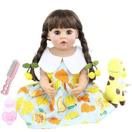 Pronta Entrega - Bebê reborn menina 100% silicone cabelo comprido girafinha 55cm