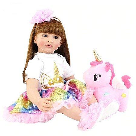 Pronta Entrega - Bebê reborn menina unicórnio - cabelo comprido - com pelúcia 60cm