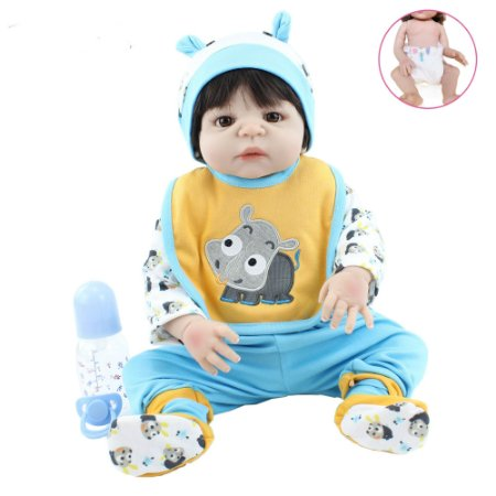 Pronta Entrega - Bebê reborn menino 100% silicone roupa hipopótamo 57cm