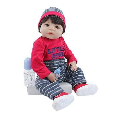Pronta Entrega - Bebê reborn menino 100% silicone pode banhar  little hunk 55cm