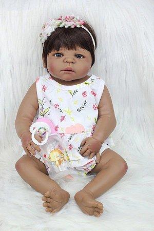 Pronta Entrega - Bebê reborn menina negra 100% silicone  pode banhar 55cm