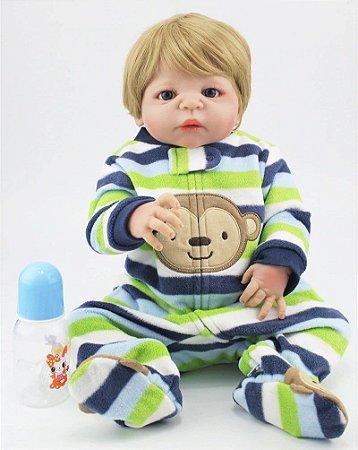 Pronta Entrega - Bebê reborn menino 100% silicone  loiro macaquinho 55cm