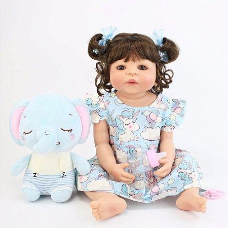 Pronta Entrega - Bebê reborn menina 100% silicone elefantinho roupa de únicorni, 55cm