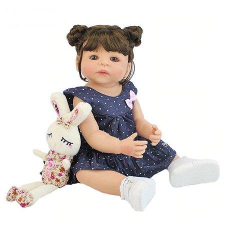Pronta Entrega - Bebê reborn menina 100% silicone com pelúcia de coelho e sapatinho, 55cm