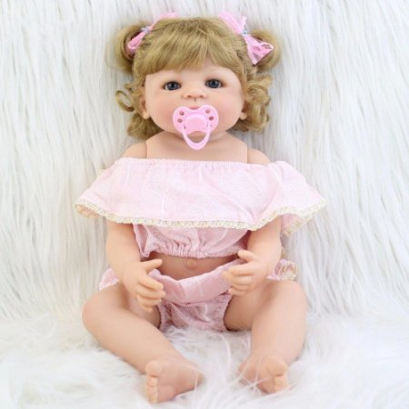 Pronta Entrega - Bebê reborn menina 100% silicone Loira 55cm
