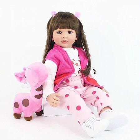 Pronta Entrega - Bebê reborn menina girafa cabelo comprido 60cm