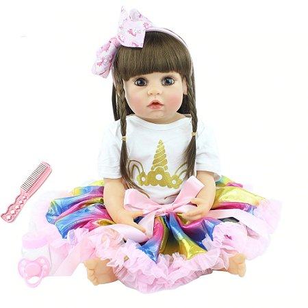 Pronta Entrega -Bebê reborn menina 100% silicone  cabelo comprido  vestido unicórnio 55cm