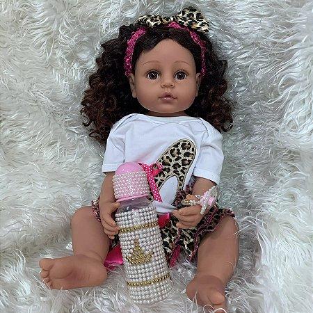 Bebê reborn  100% silicone morena  cabelo cacheado pode banhar 55cm