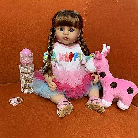 Bebê reborn  100% silicone cabelo comprido transinha pelúcia reninha pode banhar 55cm