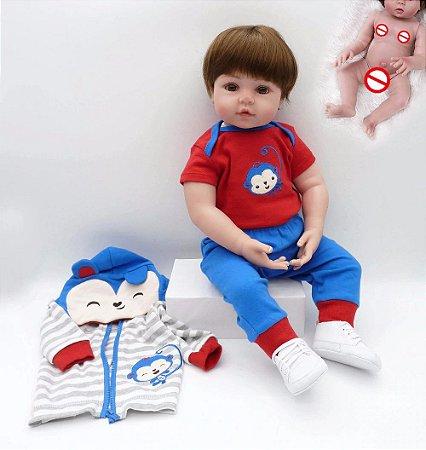 Pronta Entrega - Bebê reborn menino 100% silicone macaquinho 48cm