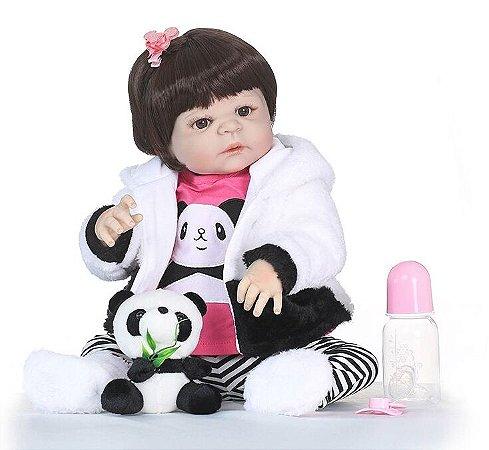 Pronta Entrega - Bebê reborn menina 100% silicone 57cm panda