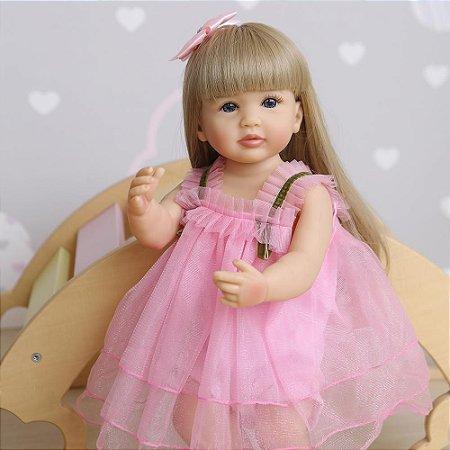 Bebê reborn silicone cabelo comprido loira ou cabelo castanho  55cm