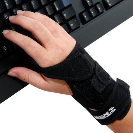 Munhequeira com tala órtese preta mão direita