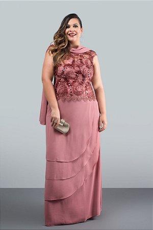 Vestido Longo Pétala de Rosas (Venda Loja)