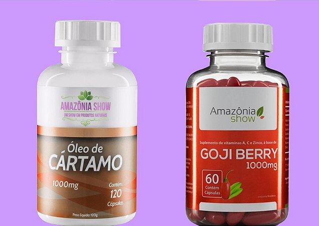 Kit 1 Goji Berry 60 capsulas 1 Oleo de Cartamo 120 capsulas