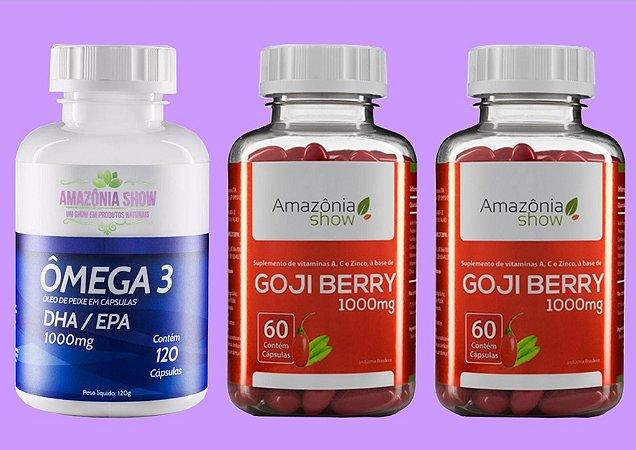 Kit 2 Goji Berry 60 capsulas 1 Omega 3 120 capsulas