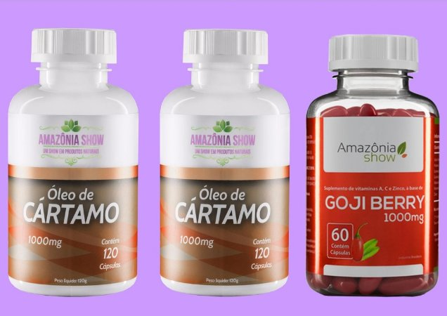 Kit 2 Óleo de Cartamo 120 capsulas 1 Goji Berry 60 capsulas