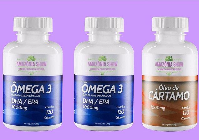 Kit 2 Omega 3 120 capsulas 1 Óleo de Cartamo 120 capsulas