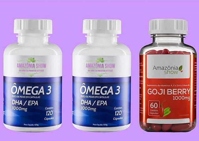 Kit 2 Omega 3 120 capsulas 1 Goji Berry 60 capsulas