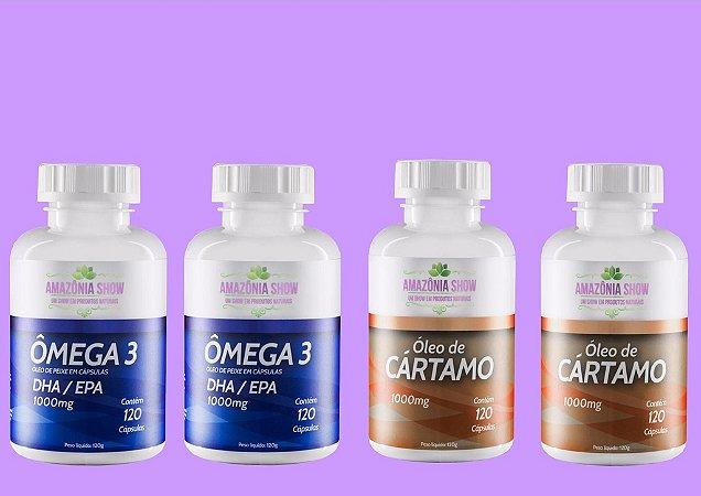 Kit 2 Óleo de Cartamo 120 capsulas 2 Omega 3 120 capsulas