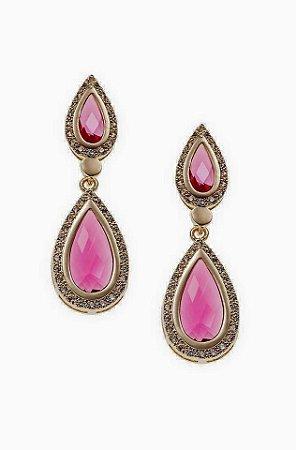 Brinco Cristal Rosa Pink