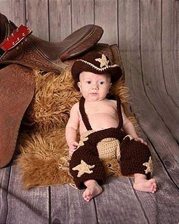 Conjunto Newborn Cowboy em Croche -  Prop Peão Rodeio