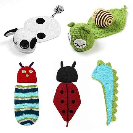 Kit Newborns com 5 Conjuntos Props em Croche
