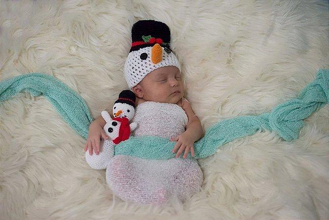 Touca Boneco de Neve + Amigurumi (Newborn)