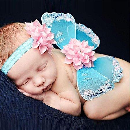 Kit Butterfly - Asas de Borbleta + Tiara (Azul e Rosa)