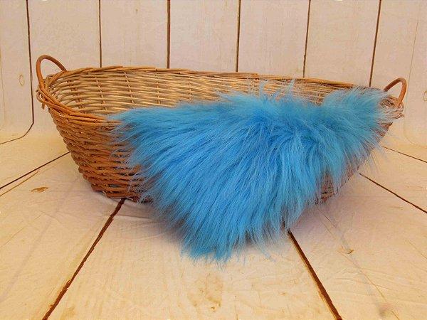 Manta para Newborn Pêlo Longo - Cor Azul