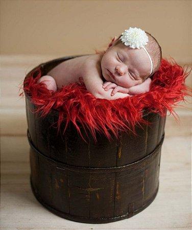 Manta para Newborn Pêlo Longo - Cor Vermelha