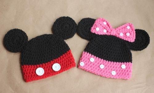 Touca Gorro Mickey Ou Minnie - Disney Newborn Art Crochê