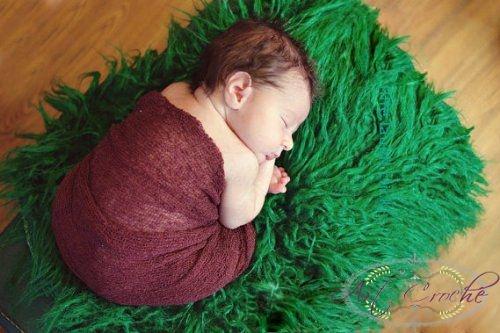 Manta pra Newborn Pêlo Longo - Cor Verde - Vários Tamanhos