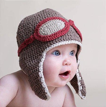Touca de Aviador em Crochê para bebês - newborn