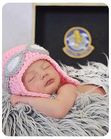 Touca Rosa de Aviador em Crochê para bebês - Newborn
