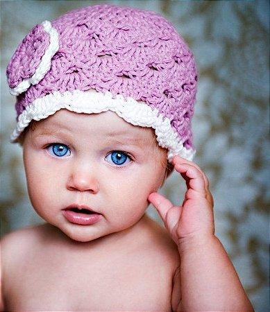 Touca Catarina em Crochê para bebês - newborn boina infantil