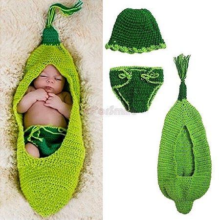 Conjunto Newborn Croche Vagem Ervilha Verde - Casulo Rede