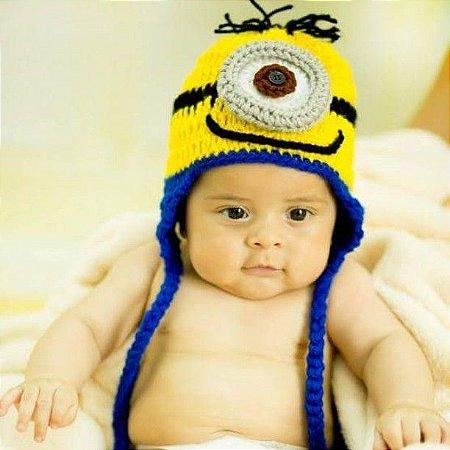 Touca Croche Minions  - Tamanho de RN a 2 anos