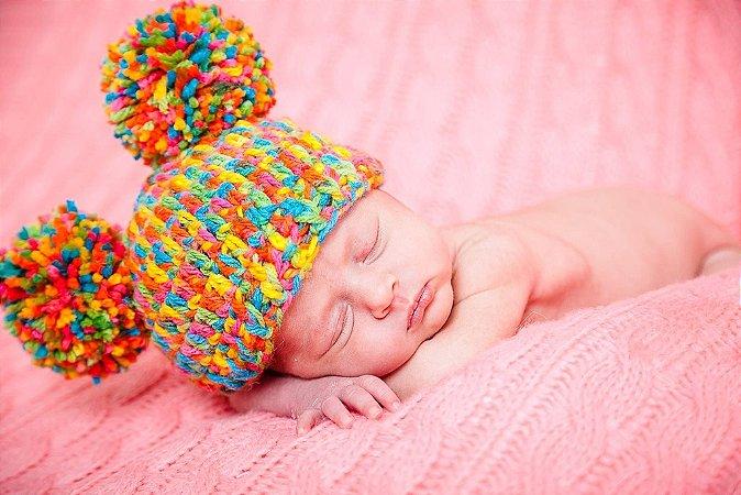 Touca Lilica Em Crochê - Pompom Newborn Menina Bebês Prop