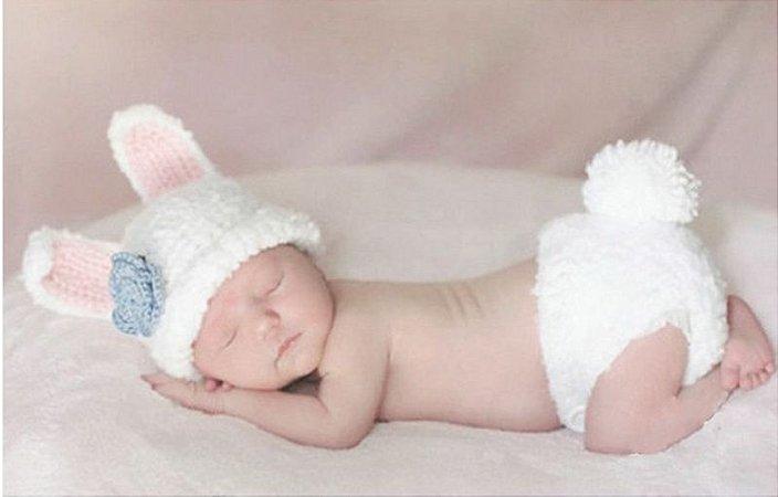 Conjunto Newborn Coelhinho Branco -  Prop Coelho bebê
