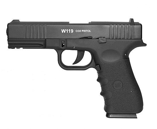 Pistola de Pressão WG Glock W119 Slide Metal BlowBack - CO2 - 4,5mm