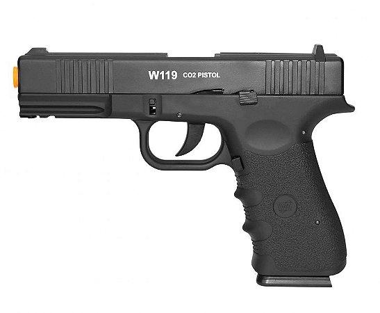 Pistola de Airsoft WG Glock W119 Slide Metal Blowback - 6.0mm CO2 - Wingun/Rossi