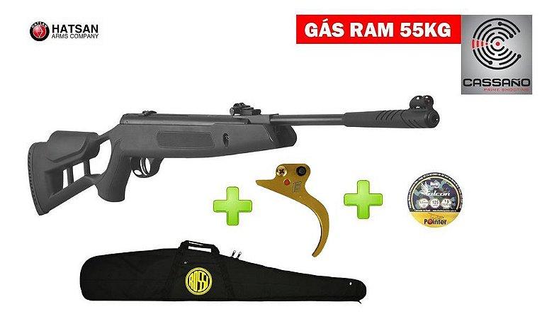 Carabina de Pressão Hatsan Striker Edge Cal 5,5 mm - Gas Ram 55kg - Bolsa - Gatilho - Chumbo - Rossi