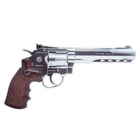 "Revólver de Pressão CO2 Full Metal Niquelado Rossi 6 tiros W702S 6"" - Cal. 4.5mm - Wingun"