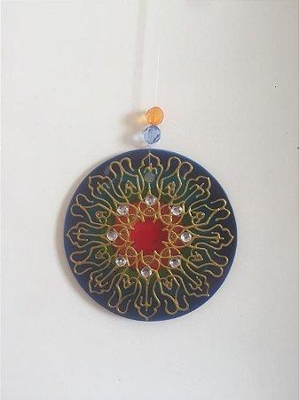 Mandala de vidro(pêndulo) M Prosperidade
