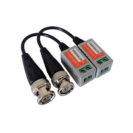 Balun de Vídeo AHD Rabicho Conector Borne e Conector BNC - Par
