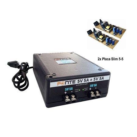 Fonte Cx H 050505 5V 5A 5A Duas Placas Slim 5-5